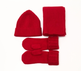 Get a knit scarf, mittens and a hat
