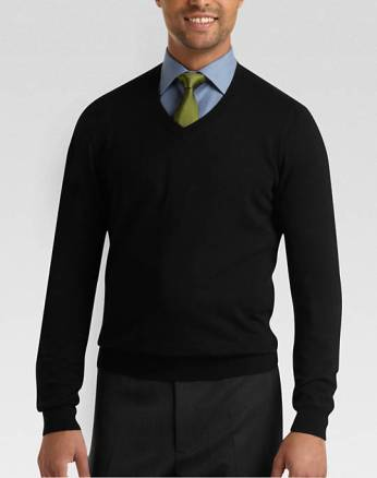 Wear a black v-neck with a grey skirt or black pants